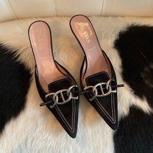 Prada black suede mules